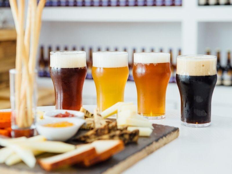 Tasting beers with snacks